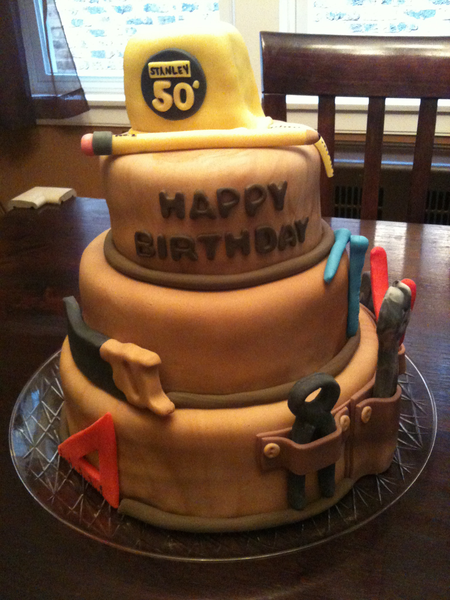 Heres My First Attempt At A Three Tiered Cake The Happy Occasion Was 50th Birthday Surprise Layers Included Triple Chocolate Fudge Vanilla