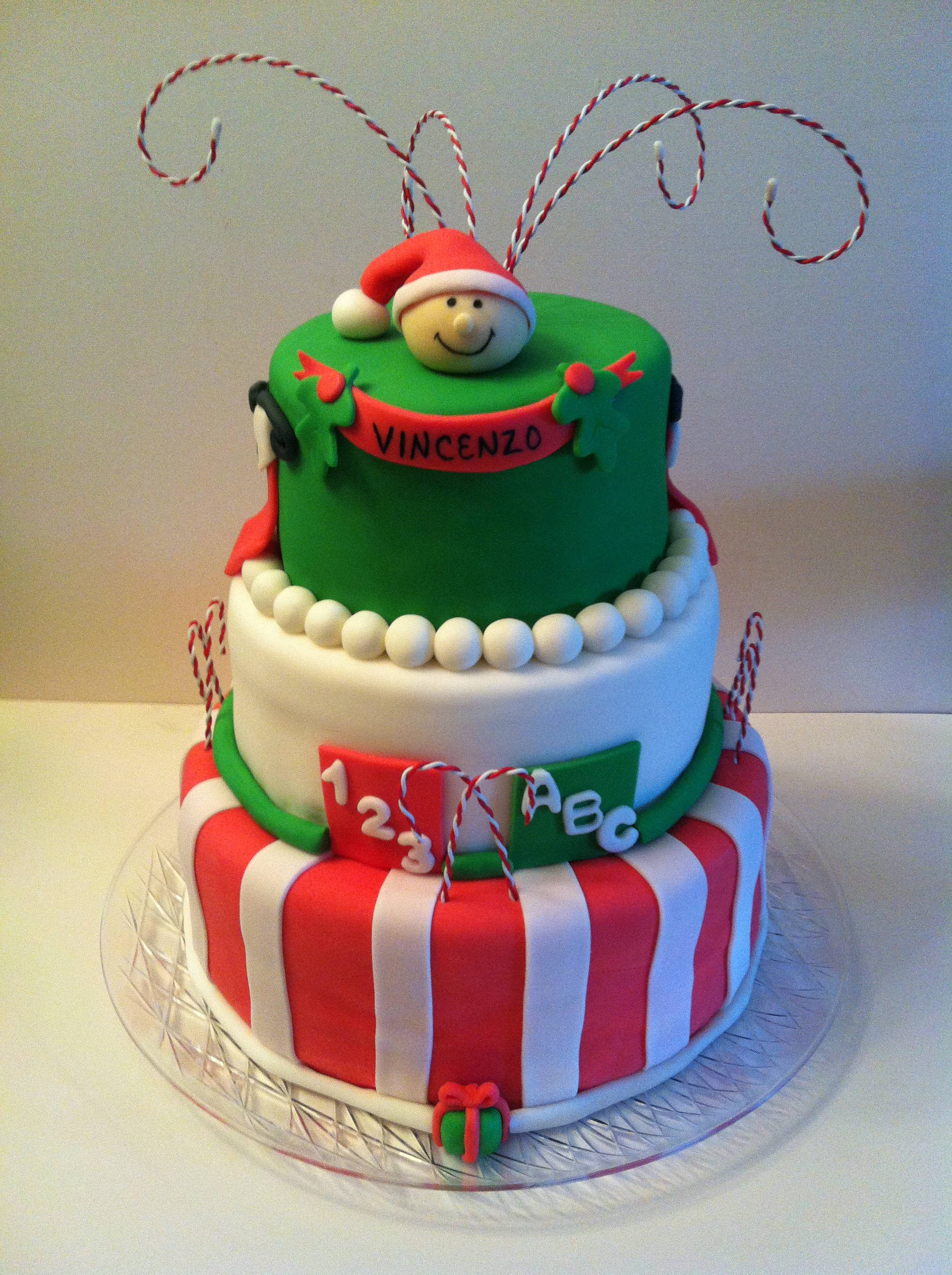 Baby Vincenzo Will Be A Wonderful Gift This Christmas For Many. His Shower  Was Celebrated In Christmas Style With This Three Tiered Cake.